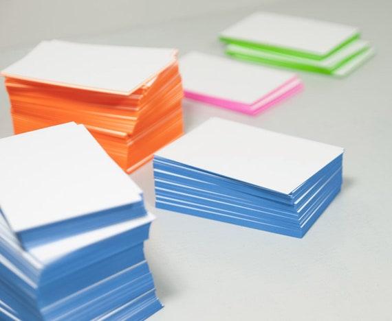 Visitenkarten Neutral Neon Blau Farbschnitt 50 Stü