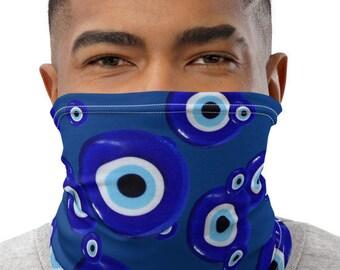 Evil Eye Greek Cobalt Blue Spiritual Protection Face Shield Superstitious superstition amulet symbol Good Luck Charm Neck Gaiter