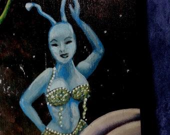 Spyrolina Surreal Garden Fantasy original acrylic painting on reclaimed recycled wood panel