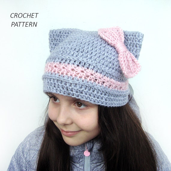Cat Hat With bow CROCHET PATTERN Girls pussy cat Ears beanie  bf56a3265c3