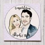 Wedding portrait illustration   Couple Illustration   Custom portrait card   Card for Newlyweds   Greeting Cards   Wedding Congrats
