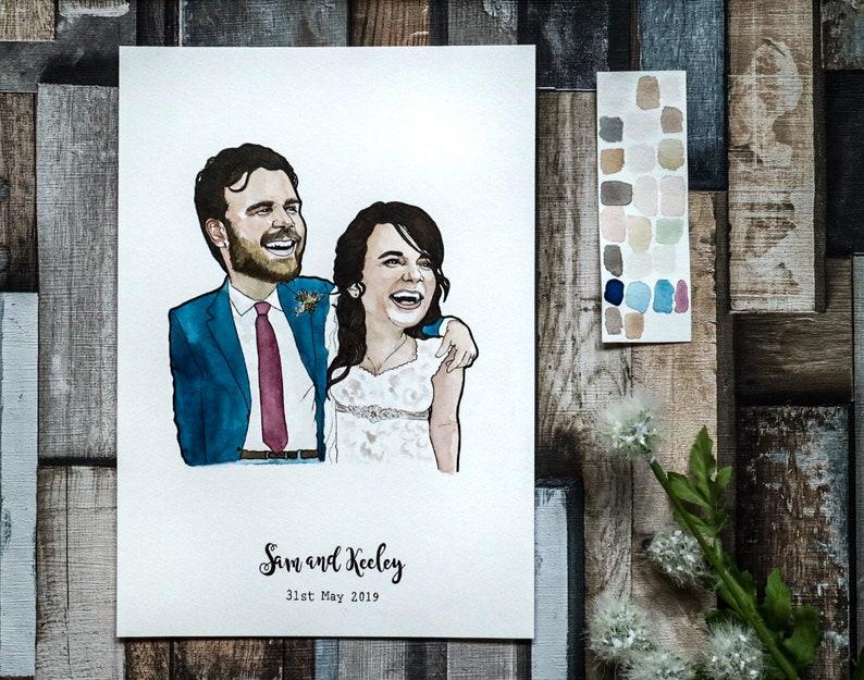 Anniversary Portrait for Couple  Couple Portrait Illustration image 0