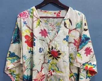 Cotton Kaftan, Indian Floral Kaftan, Long Caftan,Dress For to be Moms, Beach Cover up, Sleepwear, Indian Kaftan, Maxi Dress,Bikini Cover Up
