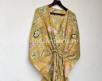 Indian Floral Kaftan, Long Caftan,Dress For to be Moms, Beach Cover up, Sleepwear, Indian Kaftan, Maxi Dress,Bikini Cover Up