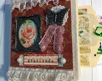 Gratitude journal handcrafted with repurposed file folders