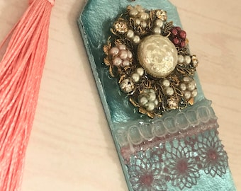 Resin bookmark with Vintage jewelry