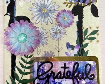 Purple floral gratitude greeting card