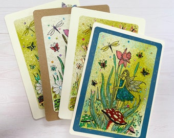 Handcrafted Fairy Botanical greeting cards set of 4