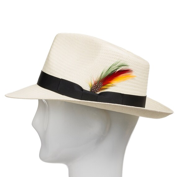 60049e6e627 Fedora Gullport Classic Straw Panama Hat with Exotic Feather