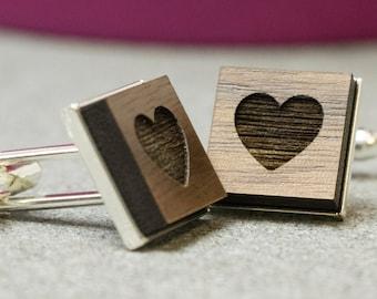 Heart cufflinks - wedding cufflinks  - love cufflinks - engagement cufflinks - walnut cufflinks laser engraved -