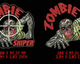 Zombie sniper, machine embroidery designs, instant download