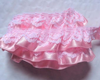 3/4 inch wide White/Pink ruffled lace price for 1 yard
