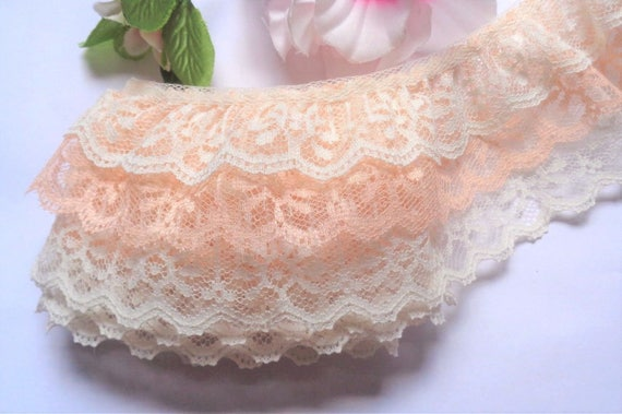 Ruffled Lace 3//4  inch wide peach//white color selling by the yard