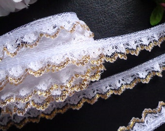 Ruffled Lace Trim 3/4 inch wide selling by the yard white/gold edge