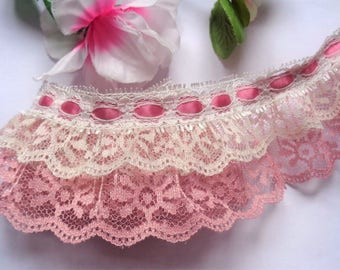 Ruffled Lace with Ribbon, 2+1/2 inch wide Col.Rose - Ivory - Col.Rose