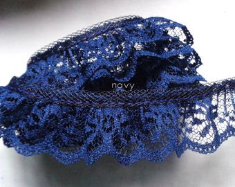 Ruffle Lace Trim 1 inch wide navy color price for 1 yard
