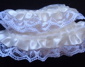 """Satin Floral Ruffle Lace Trim 1"""" ivory/white selling by the yard"""
