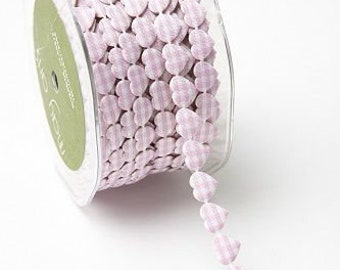 3/8 inch wide Adhesive Mini Gingham Hearts LIGHT PINK/IVORY price for 1 yard
