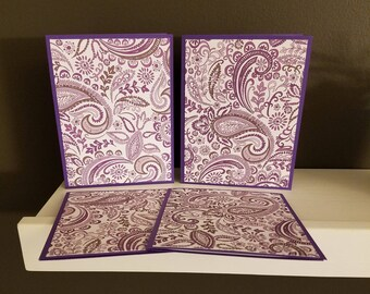 Purple Paisley Note Card Set