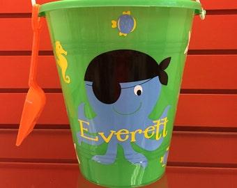 Sand pail-beach pail-personalized sand pail-beach pail with octopus -sand pail for boys-beach pail for boys