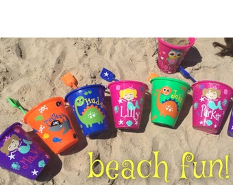 Sand pail,beach pail,personalized beach pail,personalized kids bucket,pick your design, and name