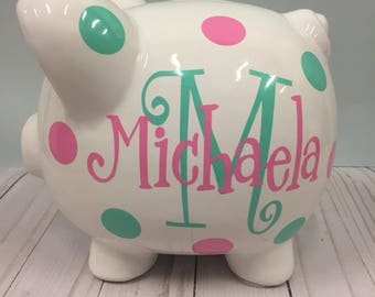 Personalized Piggy Bank-Piggy Bank-piggy bank for girls-Monogrammed Piggy Bank- girls Piggy Bank-personalized baby gift-Charlotte font