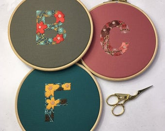 Embroidery Initial Hoop-Hand Embroidered Initial-Personalised Initial Hoop-Hand Embroidered Initial