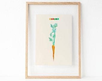 Carrot Watercolor   Wall Art   Vegetable Art