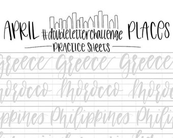 hand lettering practice sheets double letter words april places brush lettering challenge calligraphy practice