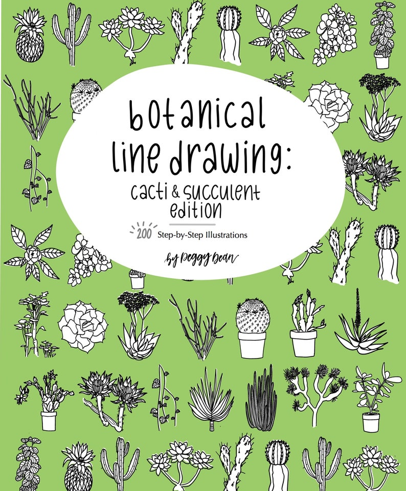 eBook PDF Download Botanical Line Drawing Cactus & Succulent image 0