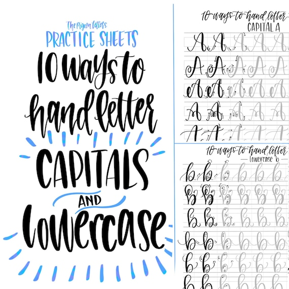 bundle save hand lettering practice sheets 10 ways to etsy