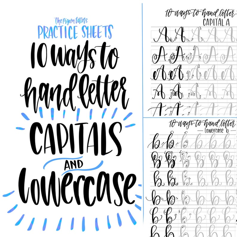 BUNDLE & Save  Hand Lettering Practice Sheets  10 Ways to image 0