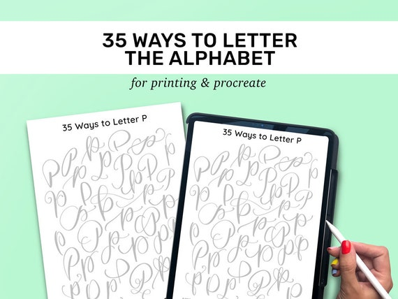 Hand Lettering Tracing Sheets | 35 Ways to Hand Letter the Alphabet |  Uppercase | Lowercase | Learn Brush Calligraphy