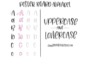 Hand Lettering Practice Sheets | Posterboard Print Alphabet | Uppercase & Lowercase | Learn Brush Calligraphy