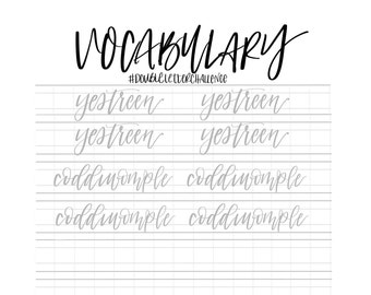 Hand Lettering Practice Sheets | DOUBLE LETTER Words - Unusual Vocabulary | Brush Lettering Challenge | Calligraphy Practice