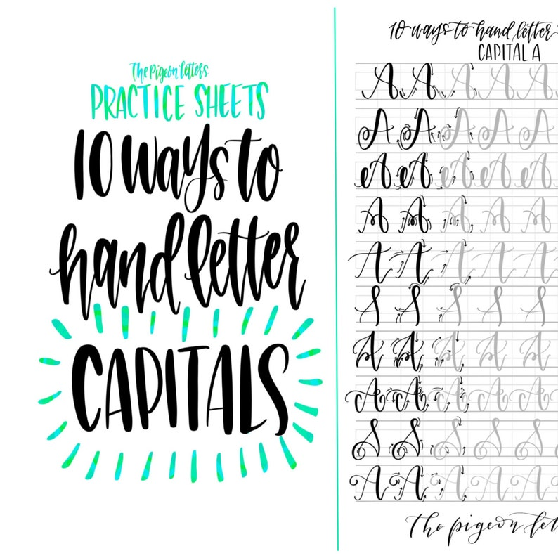 Hand Lettering Practice Sheets 10 Ways To Hand Letter The Etsy