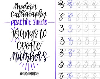 Modern Calligraphy Practice Sheets | 10 Ways to Create Numbers | Calligraphy Practice | Hand Lettering | Learn Brush Calligraphy