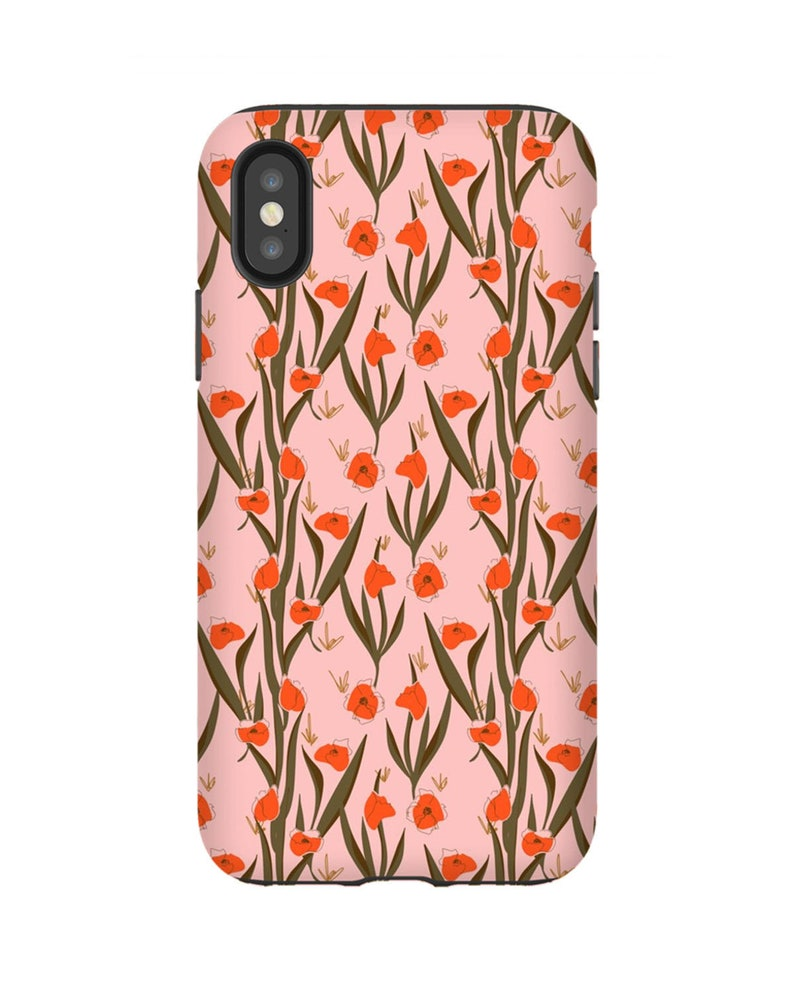 Pink And Orange Floral Phone Case Iphone Samsung Galaxy
