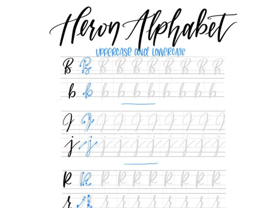 Heron Alphabet Edgy Hand Lettering Practice Sheets Modern