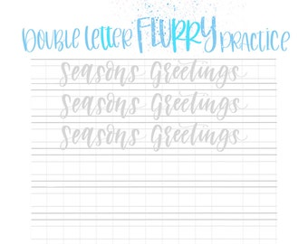 Practice Sheets | Winter 31 DOUBLE LETTER Words for December | Hand Lettering Challenge | Calligraphy Practice