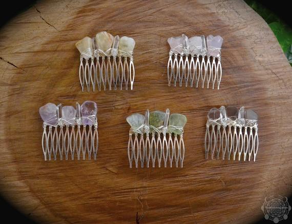 Clear Quartz Cotton Candy crystal hair slide comb large crystal hair slide comb crystal crown bridal comb crystal headpiece fairy crown gems