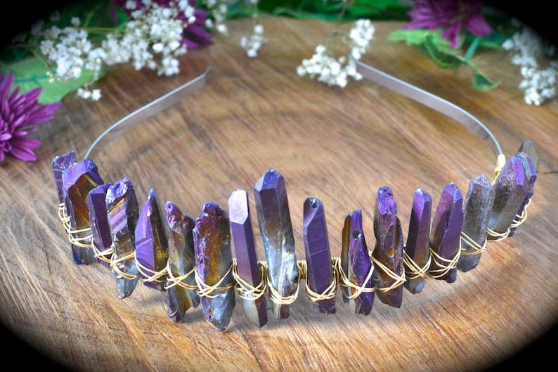 Crystal crown purple rainbow crystals bridal crown boho wedding boho bachelorette party formal hair accessories birthday crown headband