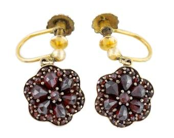 ef14594dd 9ct Gold Antique Garnet Drop Earrings with Screw-backs