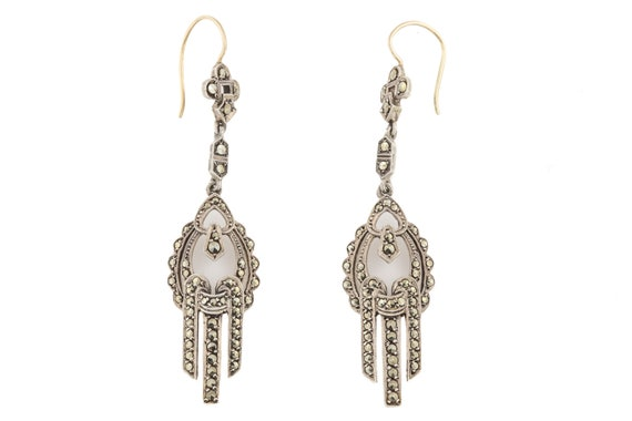 Art Deco Marcasite Cascade Drop Earrings