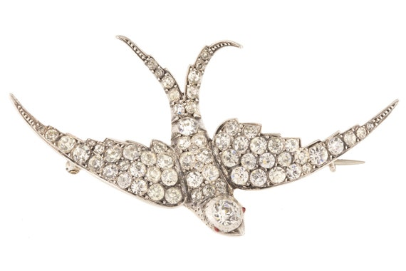 Large Victorian Silver Paste Bird Brooch