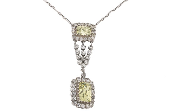 Edwardian Diamond Paste Drop Necklace