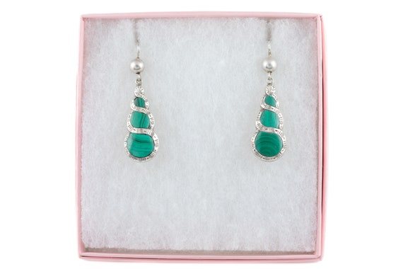 Victorian Silver Malachite Earrings - image 10