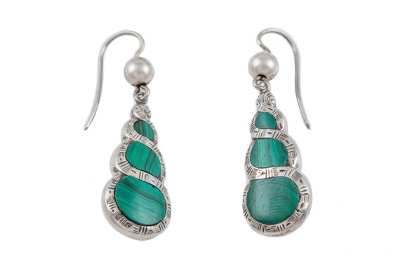 Victorian Silver Malachite Earrings - image 1
