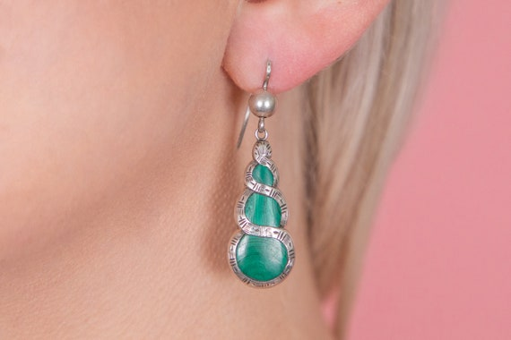 Victorian Silver Malachite Earrings - image 2
