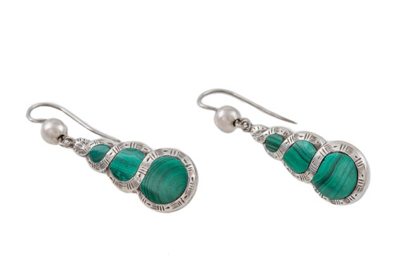 Victorian Silver Malachite Earrings - image 3